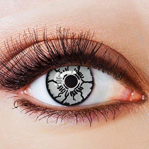 Farbige Kontaktlinsen Schwarz Ohne Stärke mit Motiv Schwarze Fun Linsen für Halloween Karneval Party Fasching Cosplay Kostüm Black White Scars