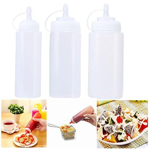 Aolvo Kunststoff, Gewürz-Fläschchen, 3Stück (8oz 12oz 14oz) mit Deckel für Sirup Sauce Ketchup Grill Verkleidung Kunst Handwerk-Aufbewahrung, mehrfarbig, (12 Ml Flüssigkeit)