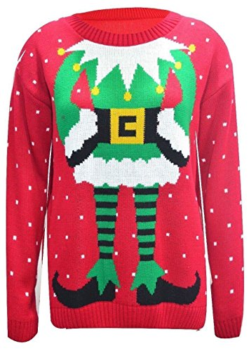 Damen Pullovern Promi Inspiriert Elfe Drucken Gestrickten Weihnachts -