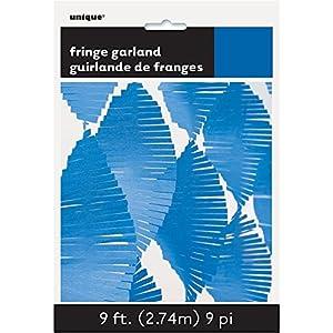 Unique Party- Guirnalda de flecos de papel de seda, Color azul rey, 274 cm (63639)