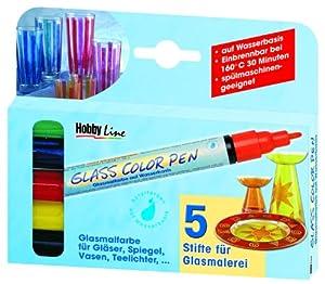 Hobby Line 42650 - Pluma de cristal de color Set de 5 Importado de Alemania