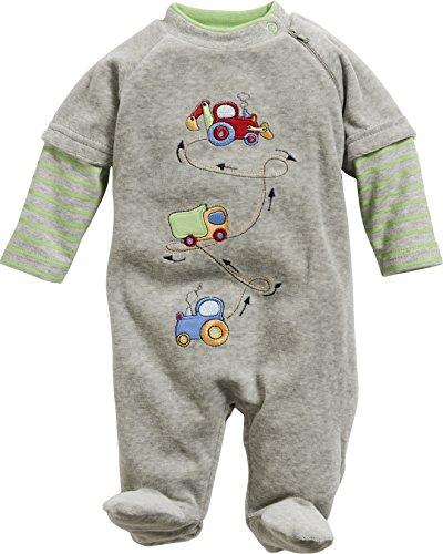 Schnizler Baby - Jungen Schlafstrampler Schlafanzug Nicki Traktor LKW Bagger, Oeko Tex Standard 100, Gr. 68, Grau (grau/melange 37)