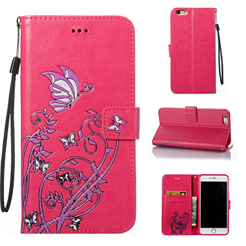 "iPhone 6 Plus / 6s Plus Hülle Case, COZY HUT LederHülle Leder Tasche Case Cover für Apple iPhone 6Plus / 6sPlus 5.5"" Zoll Hülle PU Schutz Etui Schale Rose Red Narcissus Schmetterling Muster Design Backcover Flip Cover Wallet Hardcase im Bookstyle mit Standfunktion Karteneinschub und Magnetverschluß Etui Flip Case - Rose Red"