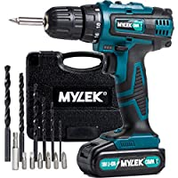 MYLEK® 18V Cordless Drill Driver with LED Work Light - 13 Piece Accessory Kit with Carry Case - Forward / Reverse, Variable Speed & Quick Stop Function