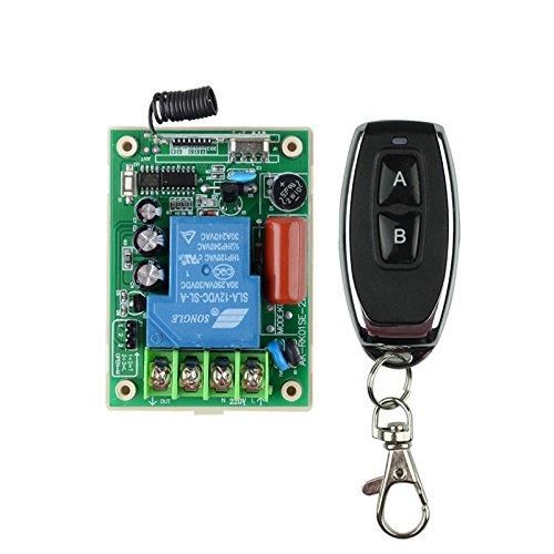 Lejin Fernbedienungsschalter Funkfernsteuerung Funkschalter mit Fernbedienung Hoch Leistung AC 220V 30A Relais Empfänger Metall Transmitter Motor LED Wasserpumpe Funkschalter 433MHz Lerncode (Ac-motor)