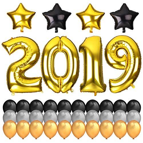 Howaf Nochevieja 2019 decoración de año Fiestas, 40Inch número 2019 Foil Globos y 18Inch Globos en Forma de Estrella (4pcs) Negro Plata Dorados de Látex Globos (30pcs)
