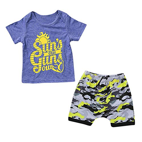 Pwtchenty Bekleidung Set Sommer Kleidung Outfits T-Shirt Hosen Outfits Kleidung Set Junge Neugeborenen Kids Baby Boys Outfits Kleidung Letter T-Shirt Tops + Camouflage Hose (Ostern Baby Boy Outfits)