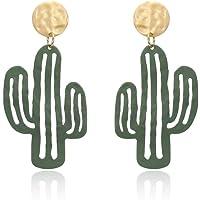 EXINOX Orecchini Cactus Verdi | Donna | Deserto Cactus Oro