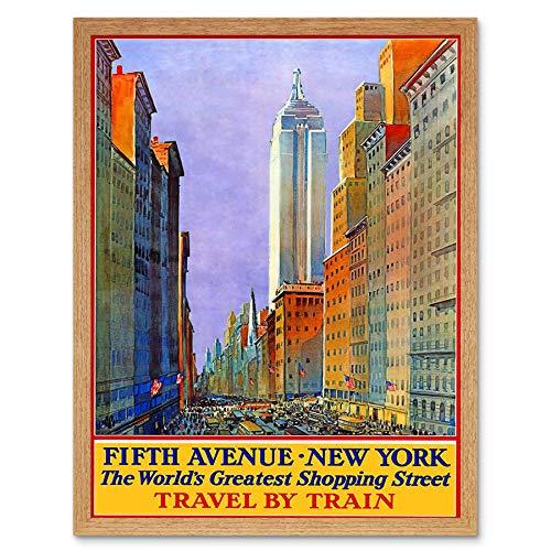 Wee Blue Coo LTD Travel New York City Fifth Avenue Shop Store Rail USA Art Print Framed Poster Wall Decor Kunstdruck Poster Wand-Dekor-12X16 Zoll