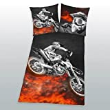 Bettwäsche Motorcross Speedway Motorrad Biker Zipper 135x200 cm Geschenk NEU WOW - All-In-One-Outlet-24 -