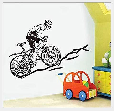 Mountainbike Racer Boy Schlafzimmer Skulptur dekorative Wandaufkleber 58 * 80cm