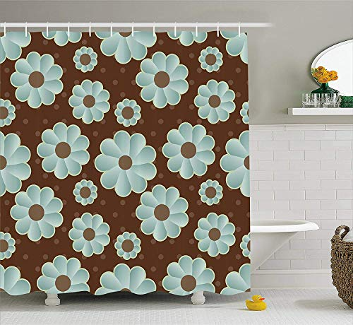 JIEKEIO Brown and Blue Shower Curtain, Retro Daisy Pattern with Polka Dot Background Abstract Design, Fabric Bathroom Decor Set with Hooks,60 * 72inch, Brown Pale Seafoam Umber -
