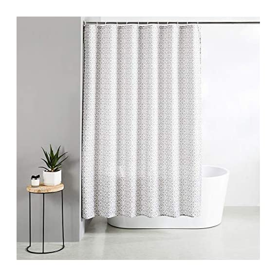 Amazon Brand - Solimo Cresent Polyester Shower Curtain, 70 inch x 79 inch, Grey