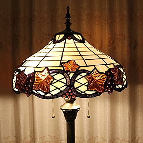 SINCERE@ Tiffany 16 Pouces Feuilles Perles De Style Européen De Pastorale Luxe Élégant Creative Main Stained Glass Tiffany Floor Lamp