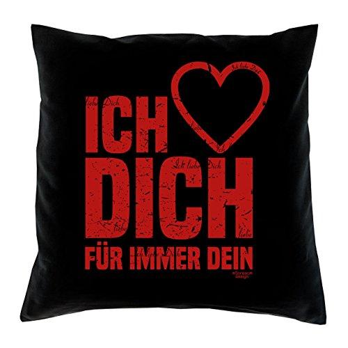 Ich liebe Dich :: Romantische Geschenkidee zum Valentinstag – Valentinstagsgeschenk Geschenk für Frauen & Männer :: Kissen inkl. Füllung Farbe: schwarz