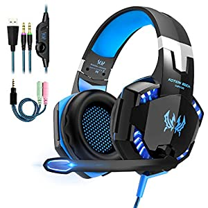 OCDAY Gaming Headset, Headset für PS4 PC Xbox One, Gaming Kopfhörer 3.5mm Surround Sound Kabelgebundenes mit Mikrofon, LED Licht für Laptop Mac Handy Tablet (Blau)