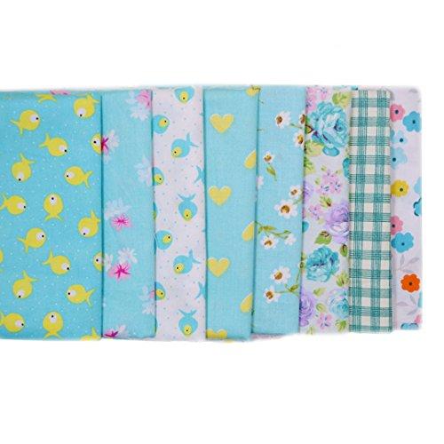Isabella Set 7PCS 50* 50cm Stoff aus Baumwolle Couture Stoff Handwerk Pakete Quilt Stoff Patchwork DIY Hardware klein point-multicolore/Serie Blau