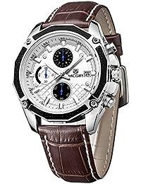 Megir Luxury–Funda de piel para hombre Casual 3Eye analógico cronógrafo reloj de cuarzo Auto Fecha