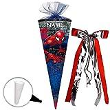 Unbekannt Schultüte -  Spider-Man / Spiderman  - 85 cm - eckig - incl. Name und große 3-D Effekt _ Schleife - Tüllabschluß - Zuckertüte - mit / ohne Kunststoff Spitze..