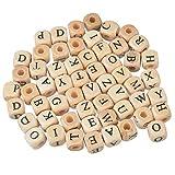 100pcs misti lettera dell' alfabeto cubo legno con perline per fai da te fare scoperte 10mm