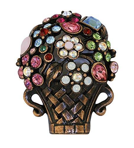 Inspired Treasures Giardinetti Brosche Blumenkorb, Bronze-Finish, Swarovski-Kristall, Lizenzprodukt von V&A Victoria and Albert Museum London -