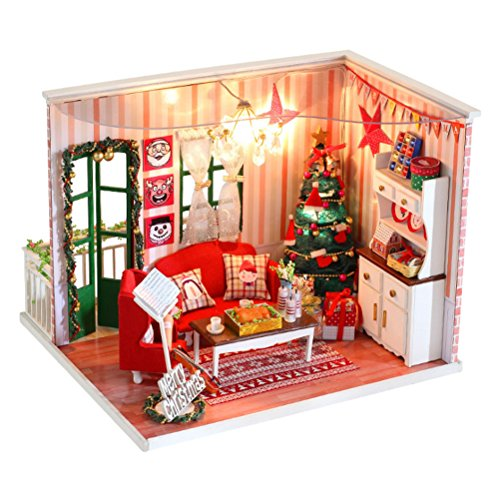 Zhhlinyuan Popular Jouets Assembled Handmade House Christmas Model with Furniture Accessory Ideal Present for kids