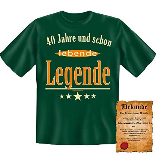 40 Jahre und schon lebende Legende! Fun T-Shirt in Dunkel Grün mit Gratis Urkunde! Dunkelgrün