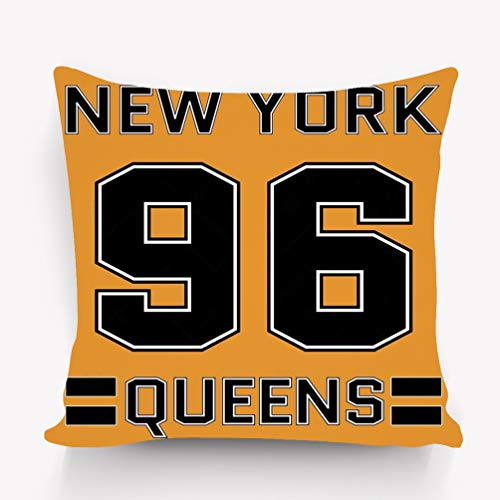 fefgrhy Kissenbezüge Decorative Square Throw Pillow Case 18 x 18 Inches New York New York Queens Basketball Typography Athlet (Queens New York Halloween-partys)