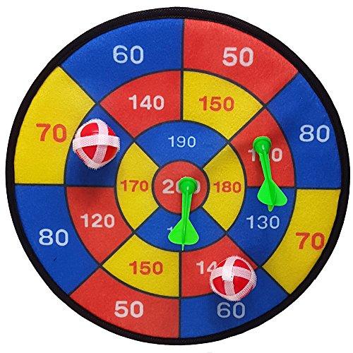 Land-Haus-Shop® Dartscheibe 29cm mit Klettband Dart Spiel Klett Scheibe je 2 Bälle und 2 Pfeile