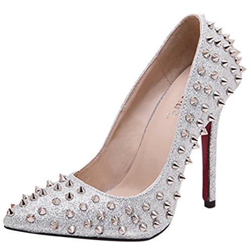 Oasap Women's Pointed Toe High Heels Rivet Slip-on Pumps silver