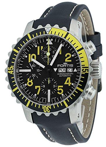 Fortis Hombre Reloj de pulsera aquatis Marino Master Amarillo Cronógrafo Fecha Día de la semana analógico automático 671.24.14L.01