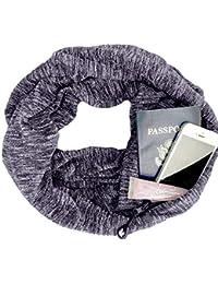 6f34417f7799 Femme Scarf With Zipper Pocket Foulard Avec Poche Zippee Couleur Unie ChèChe  ÉCharpe Double Echarpe LéGer EléGant Coupe Chaud…