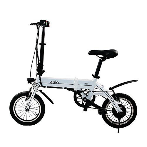 eelo 1885 Folding Electric Bike - Portable Easy to Store in Caravan, Motor Home, Boat. Short Charge Lithium-Ion Battery Silent Motor Commuter eBike, Thumb Throttle LCD Speed Display. (White)