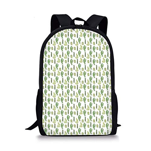 School Bags Cactus,Doodle Style Cartoon Floral Arrangement Spring Season Mexican Culture Decorative,Apple Lime and Fern Green for Boys&Girls Mens Sport Daypack (Rolling Rucksack Floral)