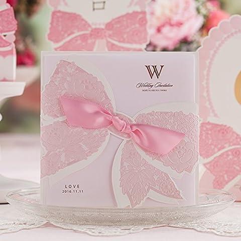Wishmade taglio Laser biglietti di inviti per matrimonio con fiocco rosa festa di fidanzamento matrimonio compleanno Baby doccia cartoncino cw6009 Pink