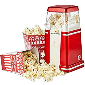 Andrew James Classic Retro Hot Air Popcorn Maker For Fresh And Fat-Free Popcorn Includes Four Popcorn Boxes