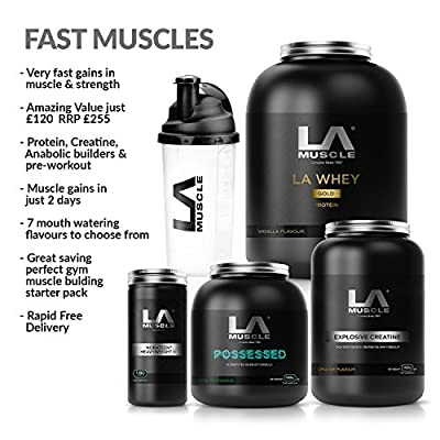 LA Muscle Amazon Special Fast Muscles Stack: Muscle Gains In Just 2 Days Amazing Value Fast-Acting Muscle Supplements For Beginners And Advanced Trainers. Everything You Need Is Here With Protein, Creatine, Anabolic Muscle Builders & The Best Pre-Workout