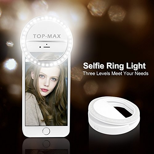 TOP-MAX 36 LED Selfie Light Ring Photography Supplementary lighting Phone Light 3 Brightness Levels Adjustable White(Batteries Included)