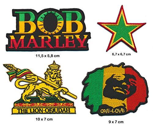 Bob Marley Aufbügler Patches 4 Stück Set Reggae One Love Kingston TURBOVERSAND Bob Patch