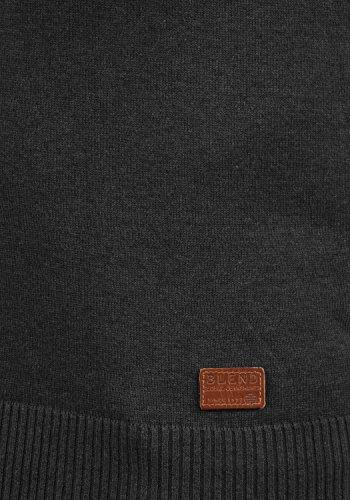 BLEND Lennardo Herren Pullunder Weste Feinstrick Ärmellos mit V-Ausschnitt aus hochwertiger Baumwollmischung Meliert Black (70155)