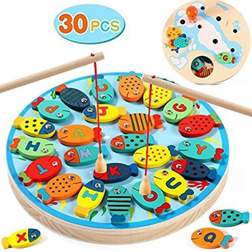 Dingcaiyi Angelspiel Magnetische Holzfischerei Aufklärung Spielzeug Lernen Buchstaben Kinder Puzzle-Spiel Dual-Use-Angeln Spielzeug-Set