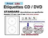 100CD–DVD Labels–Etiquetas–Etiqueta adhesiva, para impresora láser; 50hojas con 2Labels/Etiquetas. Alto color blanco; pequeño orificio central; Anillo Exterior: 117mm; Anillo Interior: 17mm