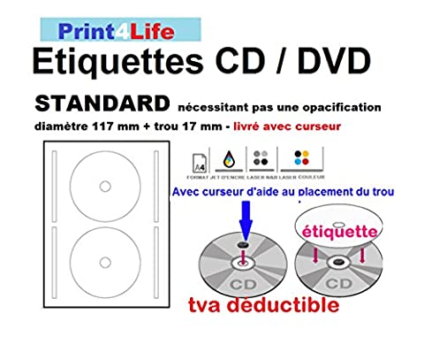 200 CD - DVD Labels - Étiquettes - étiquettes, auto-adhésif pour imprimantes laser; 100 feuilles avec 2 étiquettes / tags. Blanc éclatant; petit trou central; Bague extérieure: 117 mm; L'anneau intérieur: 17 mm; Compatible avec tous les programmes populaires logiciels de conception Format!