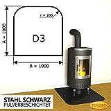 Kaminbodenplatte Funkenschutz Stahl schwarz Ofen Kaminofen Kamin D3 - 1.000 x 1.000 x 2 mm (Stahl schwarz)