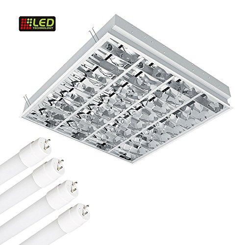 Rasterleuchte inkl 4x 10 Watt LED Röhre 6400K Tageslicht, Einlegeleuchte, Deckenleuchte mit Doppelparabolraster (BAP) 6500K, 4x800 lm, Büroleuchte, Deckenlampe, Bürolampe, Einlegeleuchte (Röhren-monitor)