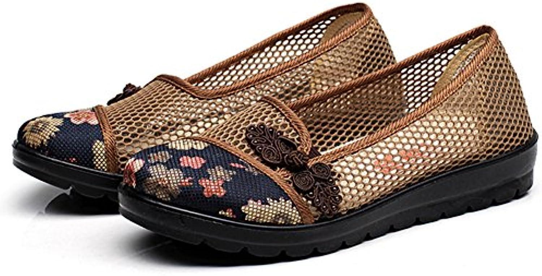 QIANDA Sandalias Mujer Zapatos De Verano Madre De Edad Avanzada Zapato De Tela Talón Plano Suela De Poliuretano...