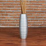 Leewadee Vaso Ornamentale, 41 cm, Legno di Mango, Argento