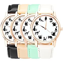 JSDDE Fun Animal Series Twelve Cute Cats Scale Rose Golden Case PU Leather Strap Womens Girls Quartz Wrist Watch,Pack of 4