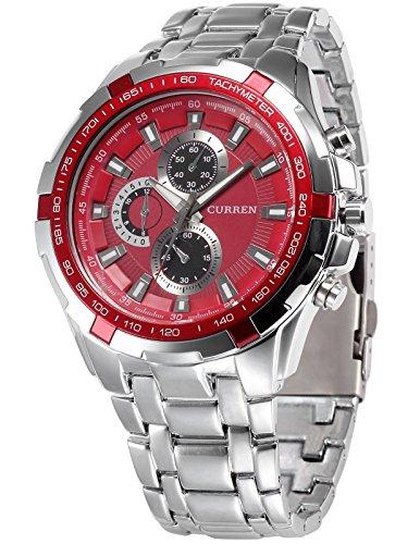 AMPM24 Rot Herren Uhr Analog Quarzuhr silber Armbanduhr