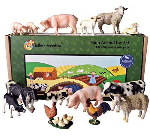 Lello & Monkey Granja Animal de Juguete de plástico Figuras Caja de Juego de 15